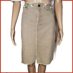 Vintage Gerard Darel Embroidered pencil midi skirt